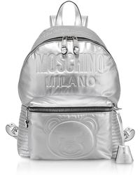 061a4264ac9d1 Lyst - Moschino Embossed Printed Quilted Leather Backpack in White