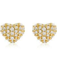 Michael Kors - Kors Love Pavé Heart Sterling Silver Stud Earrings - Lyst