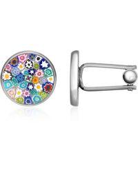 FORZIERI - Millefiori Murano Glass Silver Plated Cuff Links - Lyst