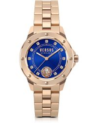 Versus - South Horizons Rose Gold Tone Stainless Steel Women's Bracelet Watch W/blue Dial And Crystals - Lyst