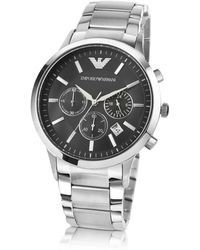 Emporio Armani - Men's Black Dial Stainless Steel Chrono Watch - Lyst