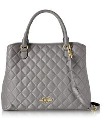 Love Moschino | Grey Superquilted Eco-leather Satchel Bag | Lyst