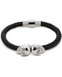 Northskull - Black Nappa Leather & Rhodium Twin Skull Men's Bracelet - Lyst