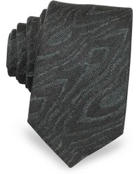 Lanvin - Black Woven Silk Narrow Tie - Lyst