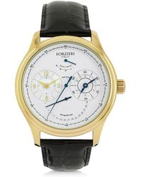 FORZIERI - Portofino Gold Tone Stainless Steel Case And Black Embossed Leather Men's Automatic Watch - Lyst