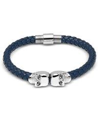 Northskull - Denim Blue Nappa Leather W/ Silver Twin Skull Bracelet - Lyst