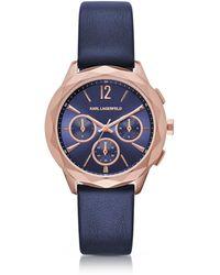Karl Lagerfeld - Optik Pvd Rose Goldtone Stainless Women's Chronograph Watch - Lyst