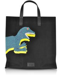 Paul Smith - Black Dino Printed Canvas Tote Bag With Leather Handles - Lyst