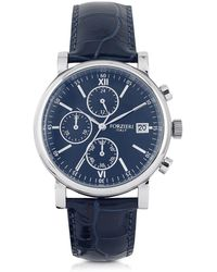 FORZIERI - Berlino Silver Tone Stainless Steel Case And Genuine Embossed Leather Men's Chrono Watch - Lyst