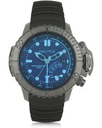 Nautica - Nmx Black Stainless Steel Case And Rubber Strap Men's Dive Watch - Lyst