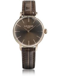 LOCMAN - 1960 Rose Gold Pvd Stainless Steel Women's Watch W/brown Croco Embossed Leather Strap - Lyst