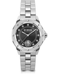 Versus - South Horizons Silver Stainless Steel Women's Bracelet Watch W/black Dial And Crystals - Lyst