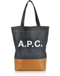 A.P.C. - Axel Denim And Caramel Leather Tote Bag - Lyst