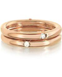 Bernard Delettrez - 9k Pink Gold Double Secret Ring W/diamonds - Lyst