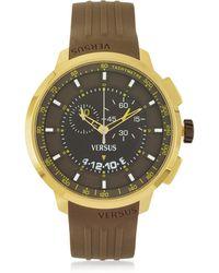 Versus - Manhattan Men's Chronograph Watch W/brown Rubber Strap - Lyst