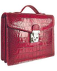 L.A.P.A. - Cherry Croco-embossed Double Gusset Compact Briefcase - Lyst