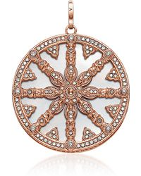 Thomas Sabo - Rose Gold Plated Sterling Silver Round Pendant W/mother Of Pearl And White Cubic Zirconia - Lyst