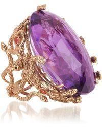 Bernard Delettrez - Medusa Rose Gold W/dark Violet Amethyst Medusa Ring - Lyst