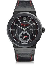 Ferragamo - F-80 Motion Black Ip Stainless Steel Men's Watch W/black Croco Embossed And Rubber Strap - Lyst