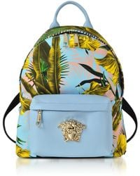 Versace - Jungle Print Cotton And Nappa Leather Palazzo Backpack - Lyst