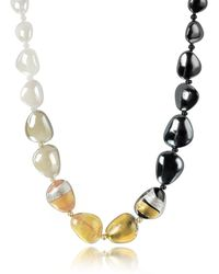 Antica Murrina - Moretta Pastel Glass Beads W/24kt Gold Leaf Necklace - Lyst