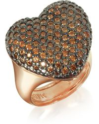 Azhar - Rose Sterling Silver You/me Ring W/champagne Cubic Zirconia - Lyst