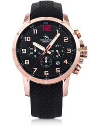 Strumento Marino - Summertime Rose Gold Pvd Stainless Steel And Black Silicone Men's Chronograph Watch - Lyst