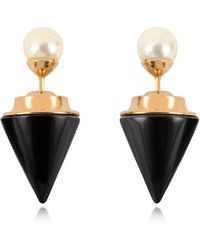 Vita Fede - Double Titan Stone Pearl Earrings W/akoya Pearls - Lyst