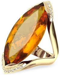 FORZIERI - Orange Gemstone And Diamond Yellow Gold Fashion Ring - Lyst