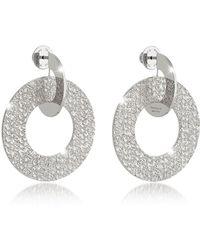 Rebecca - R-zero Rhodium Over Bronze Drop Hoop Earrings - Lyst