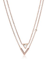 Fossil - Geometric Rose Gold Women's Necklace - Lyst