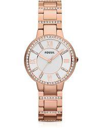 Fossil - Virginia Three Hand Rose Golden Stainless Steel Women's Watch - Lyst