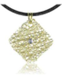 Orlando Orlandini - Central Diamond 18k Yellow Gold Pendant W/lace - Lyst