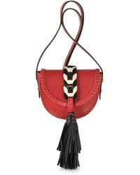 RED Valentino - Fire Red Ivory And Black Tassel Shoulder Bag - Lyst