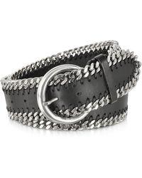 FORZIERI - Black Leather Chain Belt - Lyst