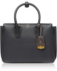 MCM - Phantom Gray Grained Leather Milla Small Tote - Lyst