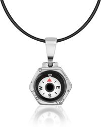 FORZIERI - Stainless Steel Compass Pendant W/rubber Necklace - Lyst