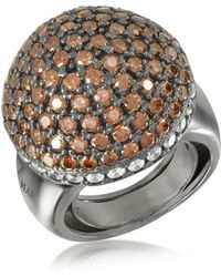 Azhar - Sterling Silver Cubic Zirconia Semi-sphere Cocktail Ring - Lyst
