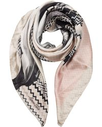 Marina D'este - Zig-zag And Flower Printed Twill Silk Square Scarf - Lyst
