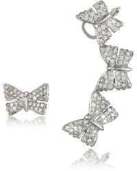Bernard Delettrez - Butterflies White Gold Earrings W/diamonds - Lyst