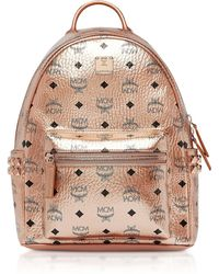 MCM - Small Champagne Gold Visetos Stark Side Studs Backpack - Lyst