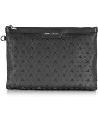 Jimmy Choo - Stars Embossed Grainy Leather Derek Medium Clutch - Lyst