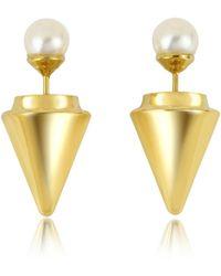 Vita Fede | Gold Plated Double Titan Pearl Earrings W/akoya Pearls | Lyst