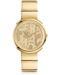 Ferragamo - Logomania Gold Ip Sunray Stainless Steel Women's Watch W/ferragamo Lettering Dial - Lyst