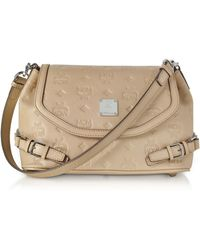 MCM - Beige Signature Monogrammed Leather Small Crossbody Bag - Lyst