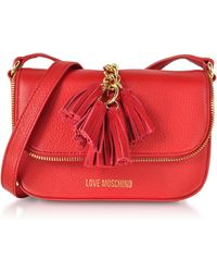 Love Moschino - Red Grainy Leather Tassels Shoulder Bag - Lyst
