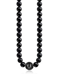 Thomas Sabo - Power Blackened Sterling Silver Men's Necklace W/obsidian Matt And Polished Beads - Lyst