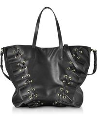 RED Valentino - Black Leather Ruffle Tote Bag - Lyst