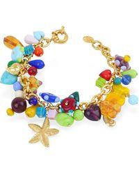 Antica Murrina - Marilena - Murano Glass Marine Gold Plated Bracelet - Lyst