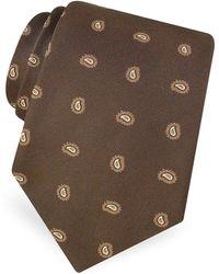 FORZIERI - Mini Paisley Pattern Woven Silk Tie - Lyst
